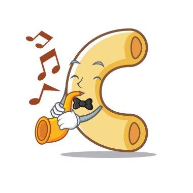 With trumpet macaroni mascot cartoon style