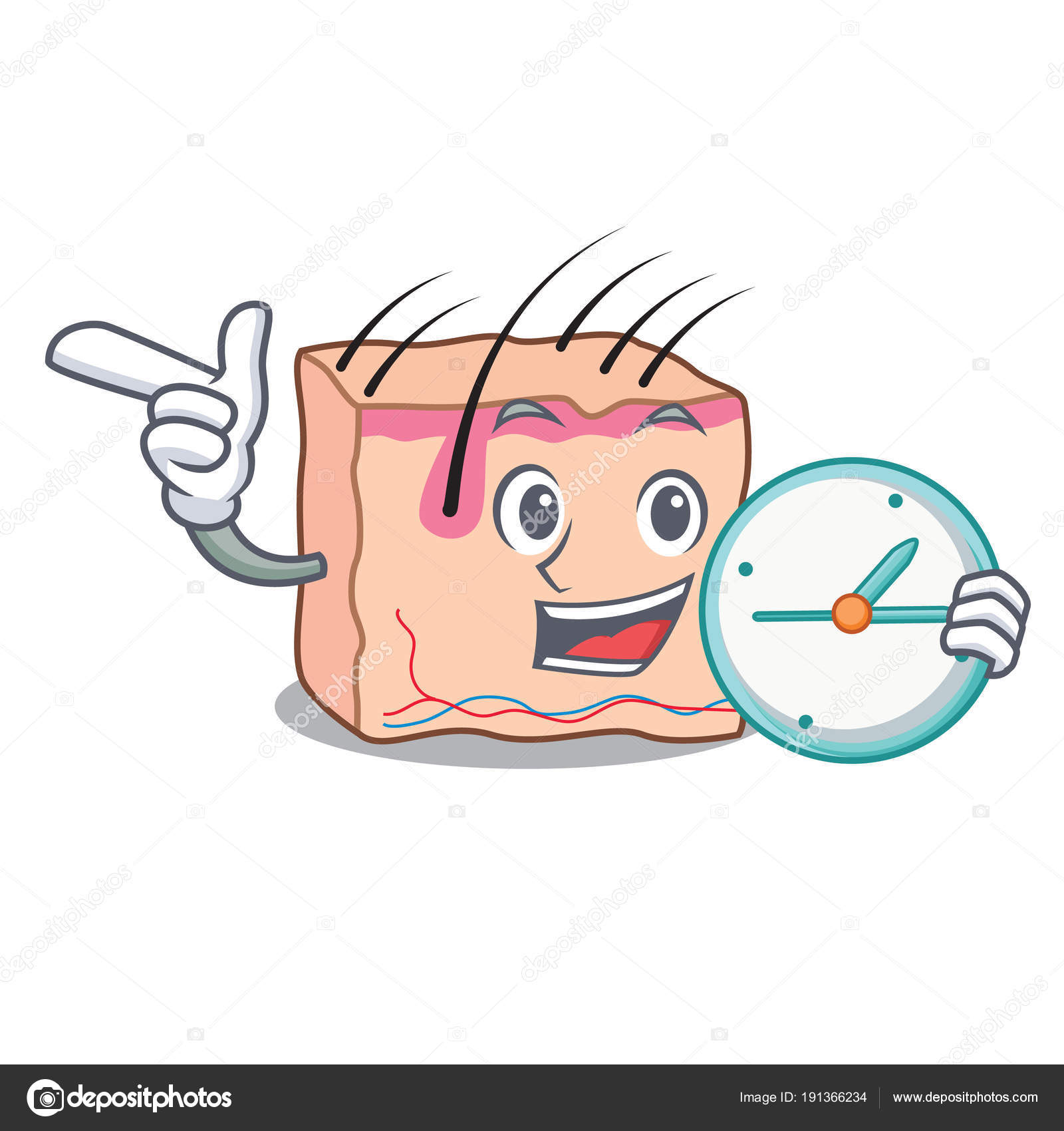 With clock skin character cartoon style — Stock Vector