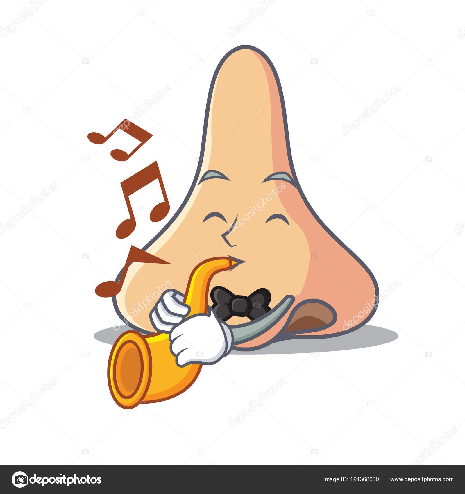 Con stile tromba naso mascotte dei cartoni animati u vettoriali