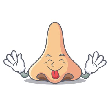 Tongue out nose mascot cartoon style