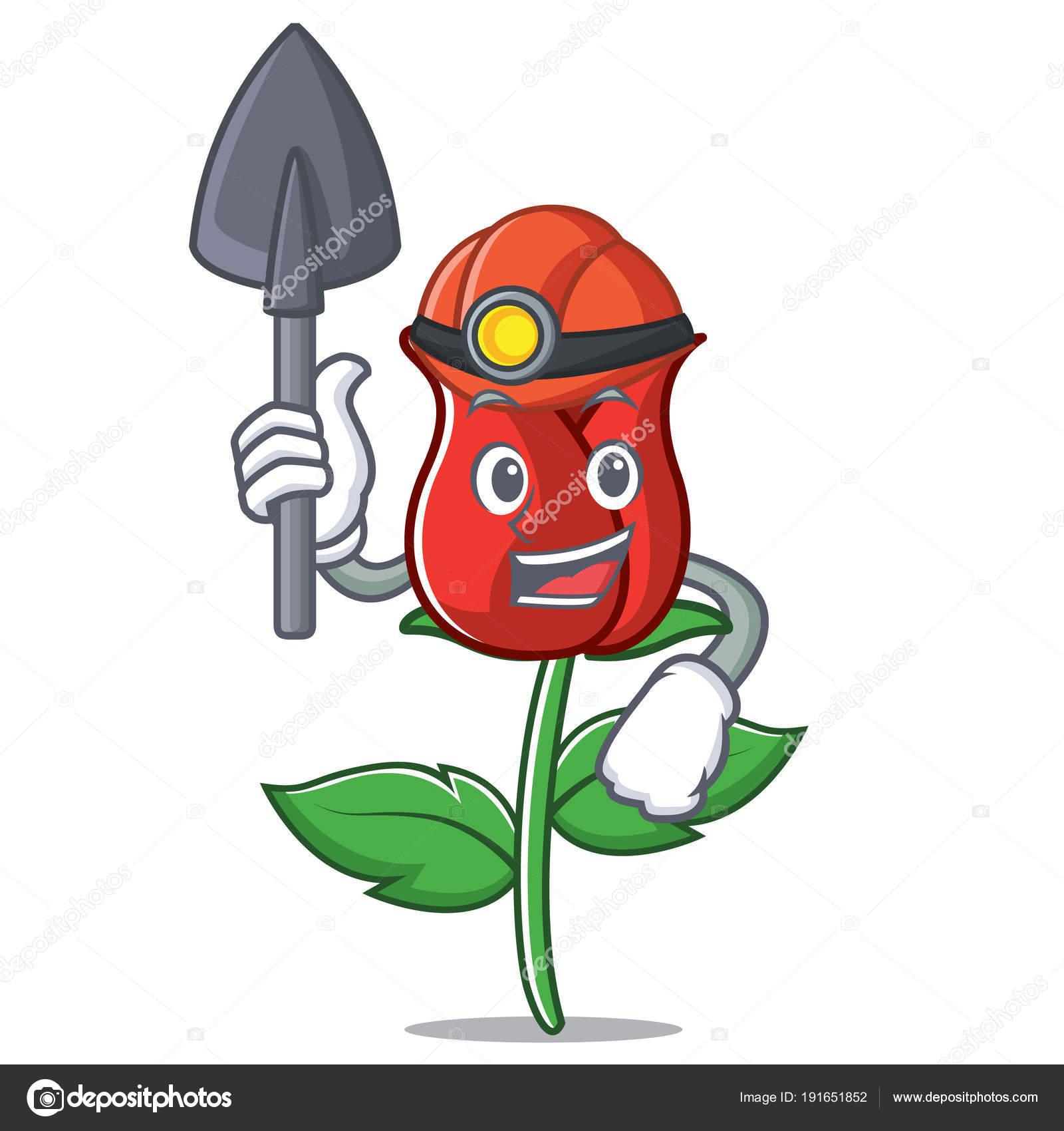 Dessin Anime De La Miner Mascotte Rose Rouge Image Vectorielle