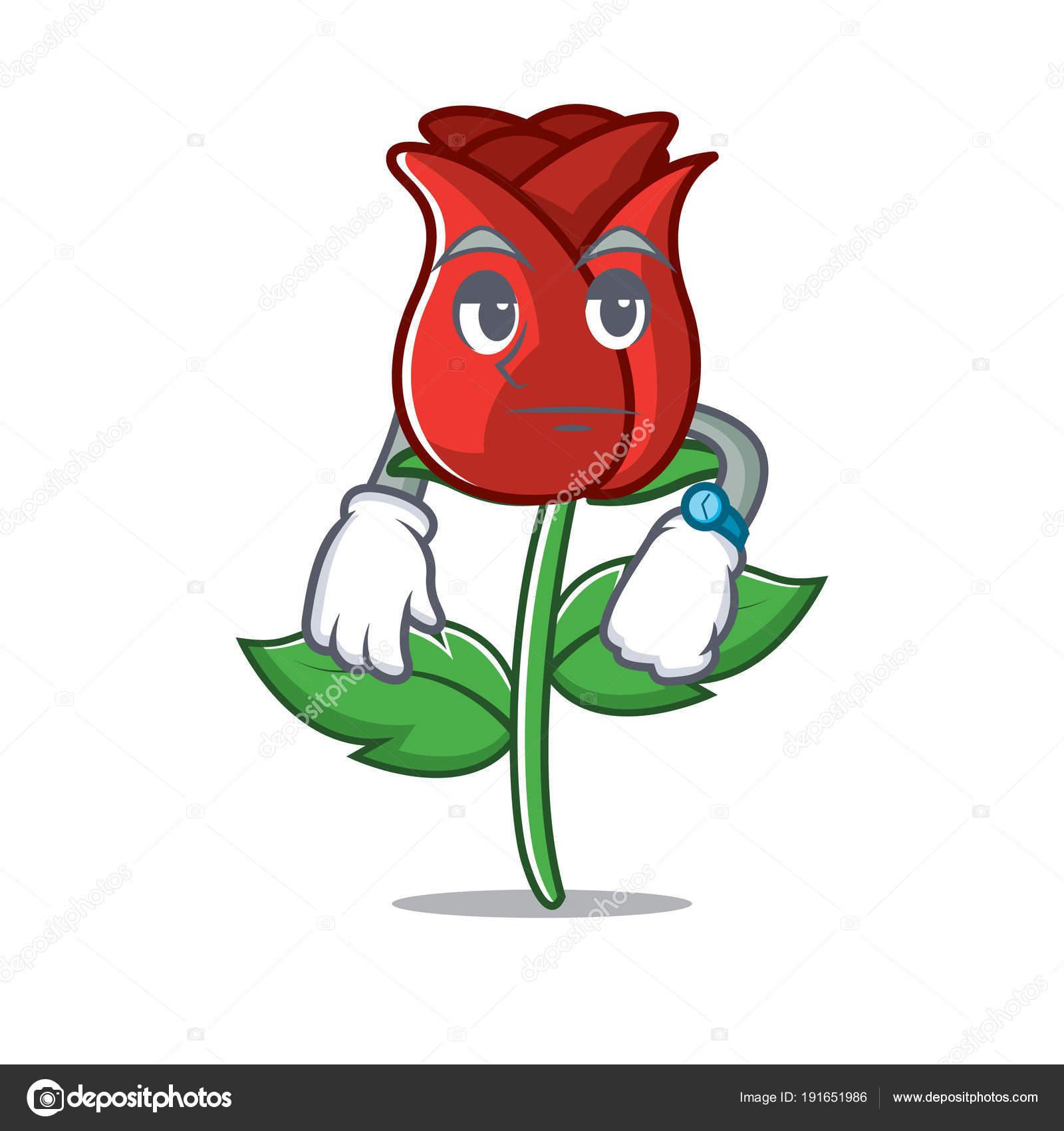 En Attendant Le Dessin Anime Mascotte Rose Rouge Image Vectorielle