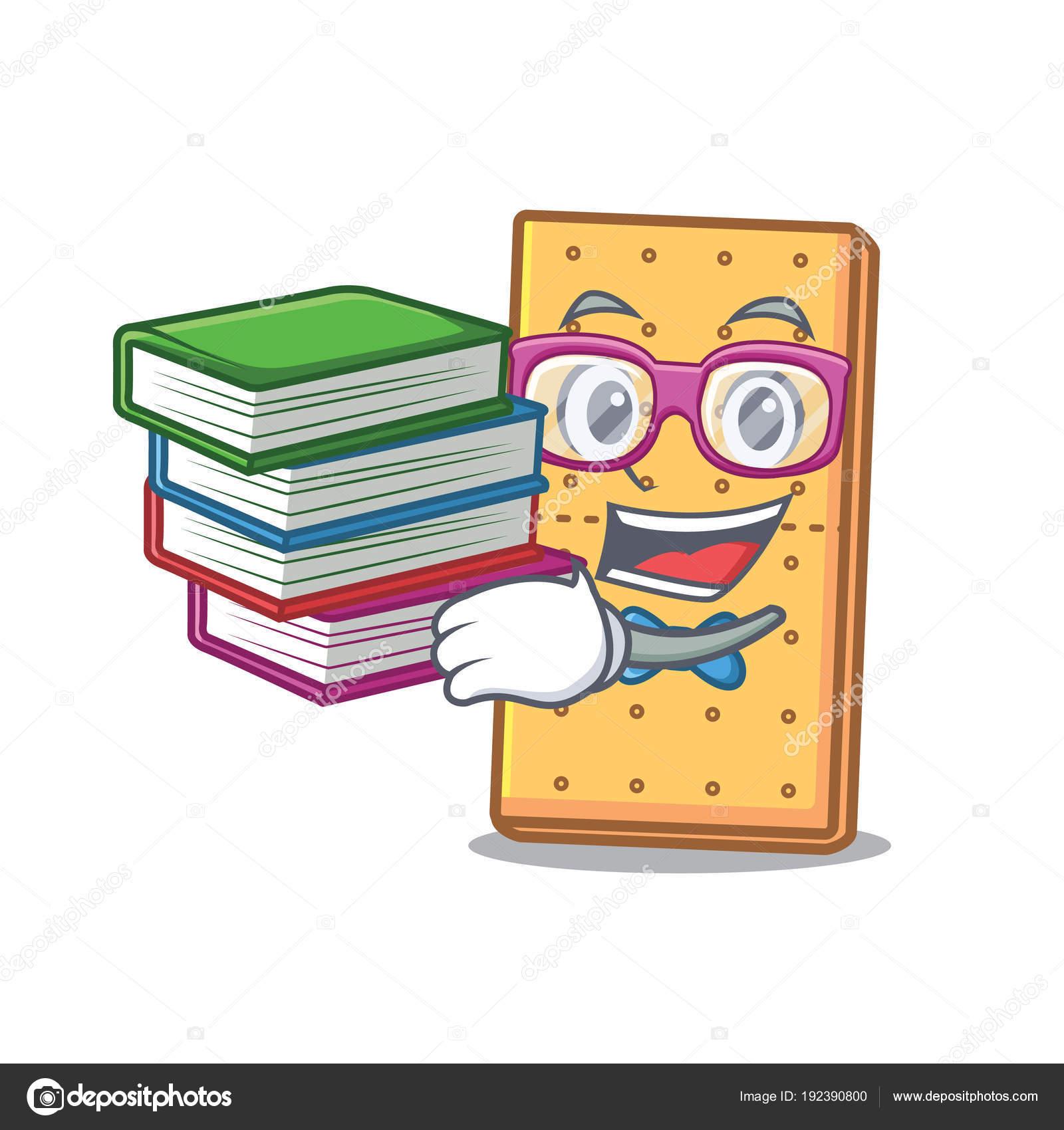 Etudiant Avec Livre Graham Cookies Mascotte Dessin Anime