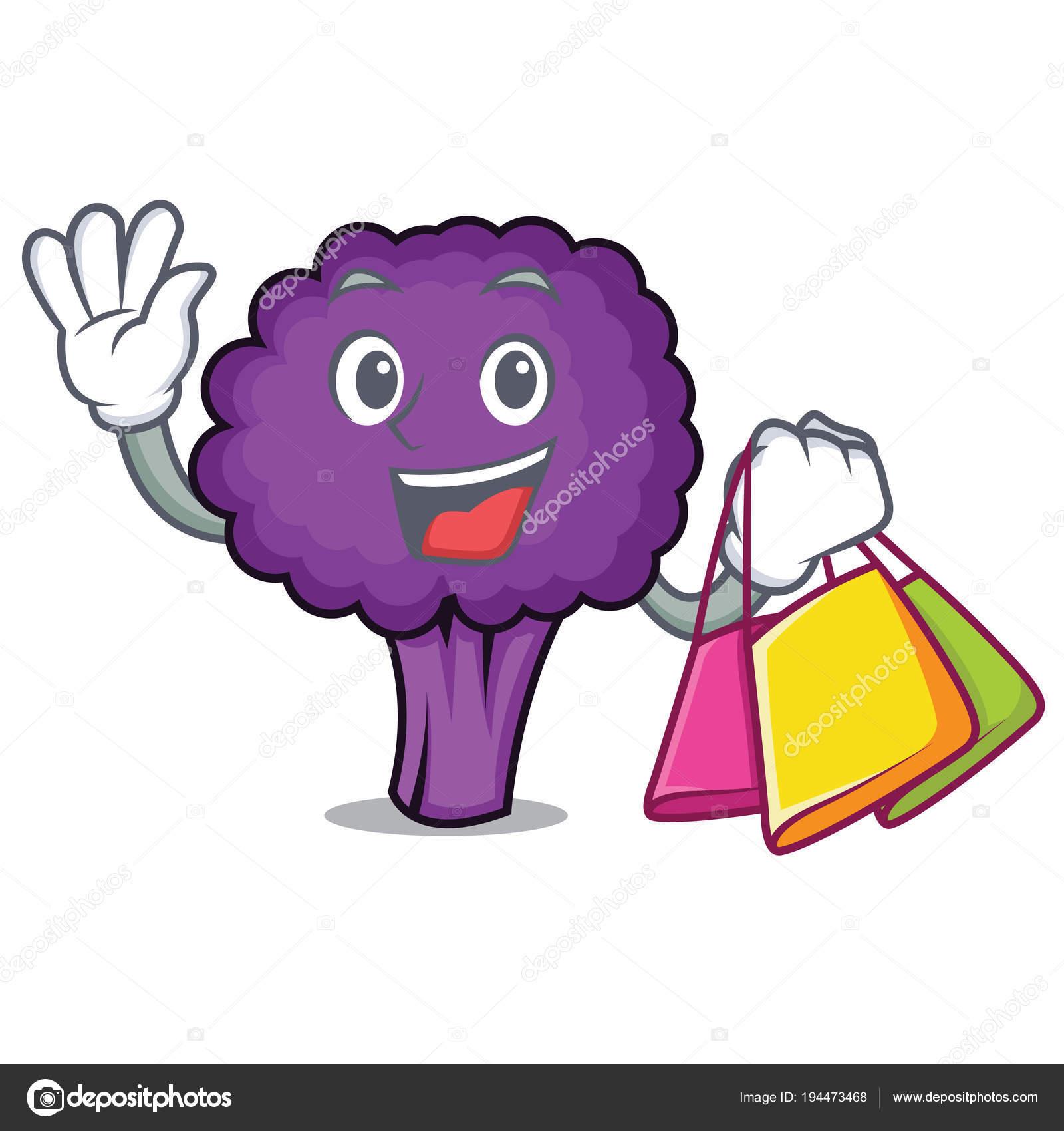 desenho animado de caráter comercial brócolis roxo vetor de stock
