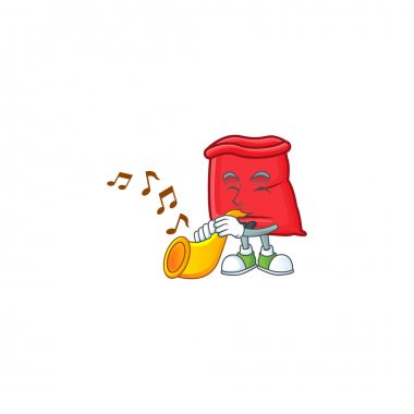 Cute santa bag open with trumpet mascot