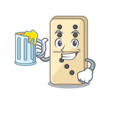 Holding juice cartoon style of domino cute isolated. Vector illustration icon