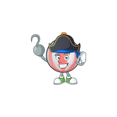 Cartoon christmas ball isolated with character pirate
