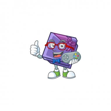 cute geek gamer purple gift box cartoon character style