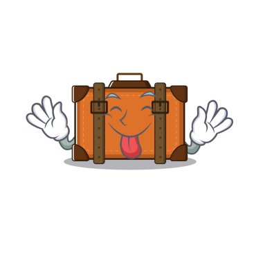 suitcase with in the cartoon tongue out shape