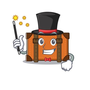 suitcase with in the cartoon magician shape