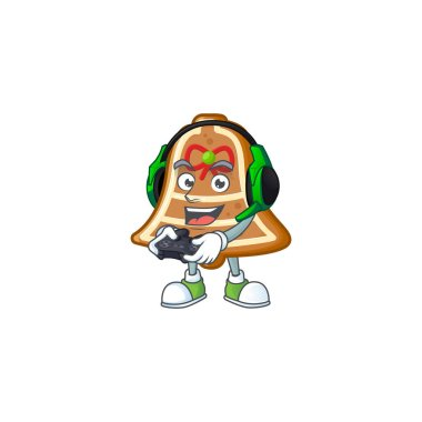 Gamer bell cookies cartoon character with headphone and controller