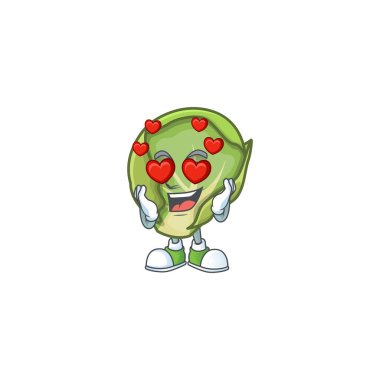 Super cute Falling in love brussels sprouts cartoon character