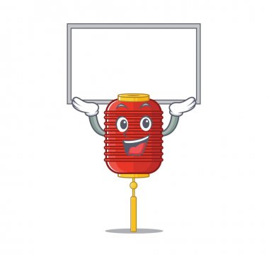 cute cartoon character chinese lantern raised up board