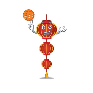 Mascot of lampion chinese lantern cartoon character style with basketball