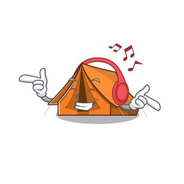 Listening music camping tent Scroll mascot cartoon character design