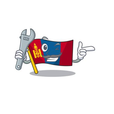 Cool Mechanic flag mongolia Scroll cartoon character design