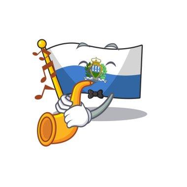 Flag san marino Scroll cartoon character design performance with trumpet
