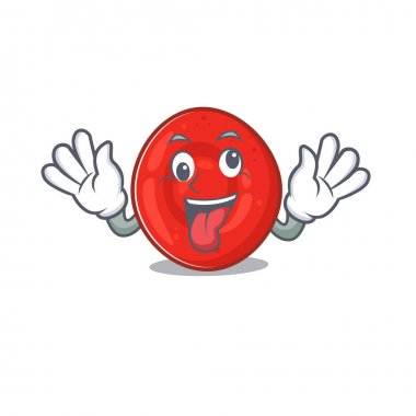 Erythrocyte cell Cartoon character style with a crazy face