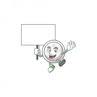 An icon of chinese silver coin cartoon character style bring board