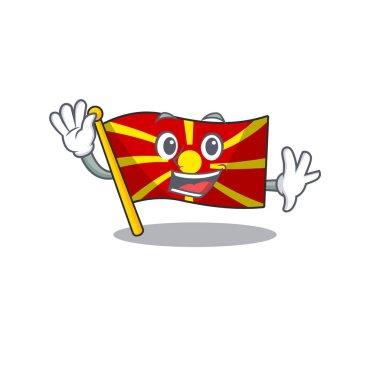 Waving friendly flag macedonia cartoon character design