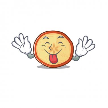 Cute apple chips cartoon mascot style with Tongue out
