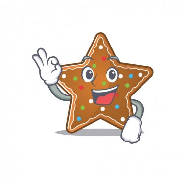 A picture of gingerbread star making an Okay gesture