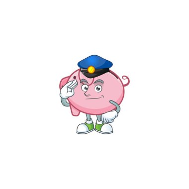 A character design of piggy bank in a Police officer costume