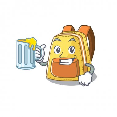 Happy kids school backpack mascot design with a big glass. Vector illustration icon