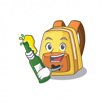 Mascot cartoon design of kids school backpack with bottle of beer. Vector illustration icon