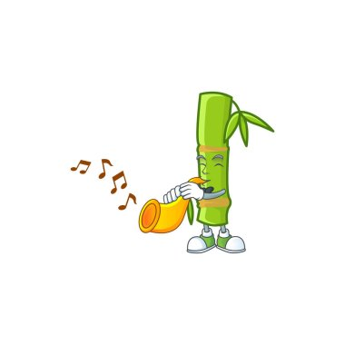 cartoon character style of bamboo stick performance with trumpet