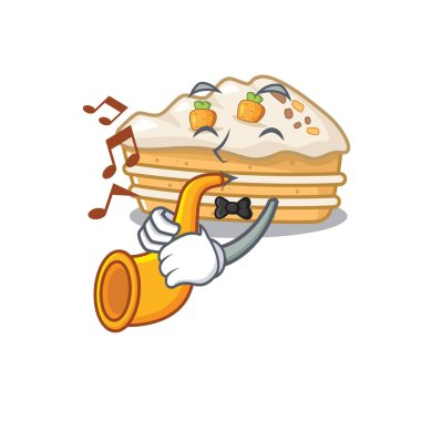 mascot design concept of carrot cake playing a trumpet