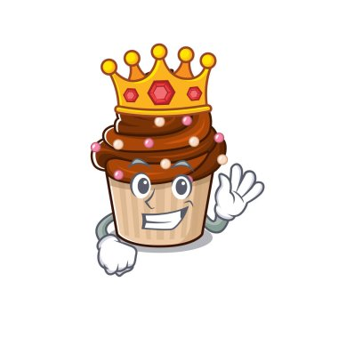A cartoon mascot design of chocolate cupcake performed as a King on the stage. Vector illustration