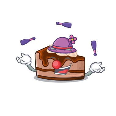 a lively chocolate cheesecake cartoon character design playing Juggling. Vector illustration