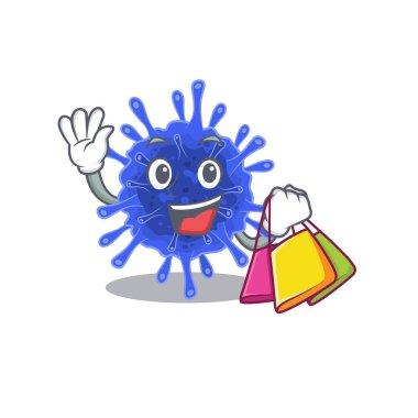 Happy rich bacteria coronavirus mascot design waving and holding Shopping bag