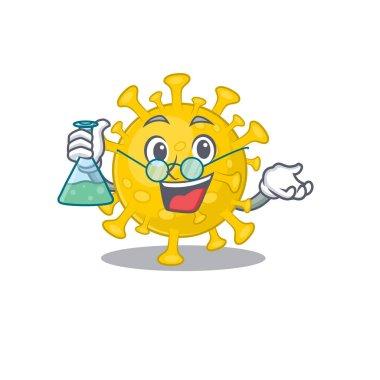 Smart Professor of corona virus diagnosis mascot design holding a glass tube