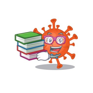 A diligent student in deadly corona virus mascot design with book