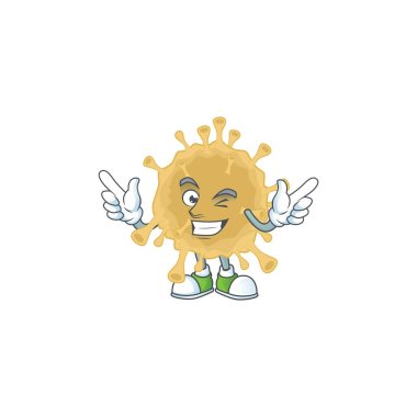 Funny coronavirus particle cartoon design style with wink eye face