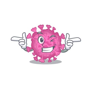 Smiley corona virus organic cartoon design style showing wink eye