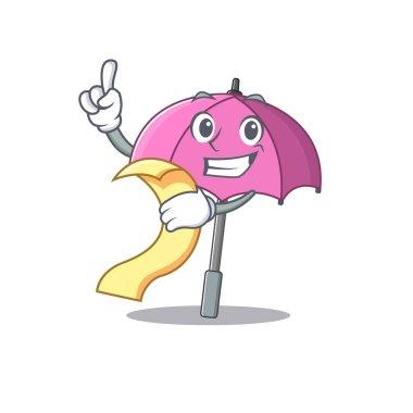 cartoon character of pink umbrella holding menu ready to serve