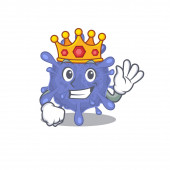 The Royal King of biohazard viruscorona cartoon character design with crown