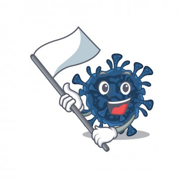 Decacovirus cartoon character design holding standing flag