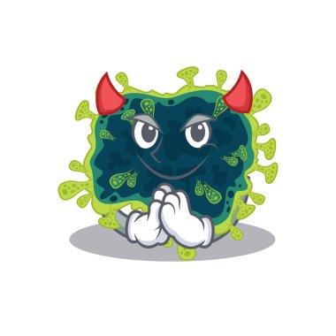 A picture of beta coronavirus in devil cartoon design