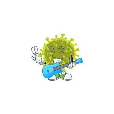 Supper talented global coronavirus outbreak cartoon design with a guitar