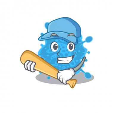 Picture of andecovirus cartoon character playing baseball