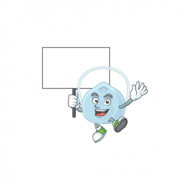 Sweet breathing mask cartoon character rise up a board. Vector illustration