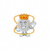 Charismatický král N95 maska kreslený charakter design nosí zlatou korunu. Vektorová ilustrace