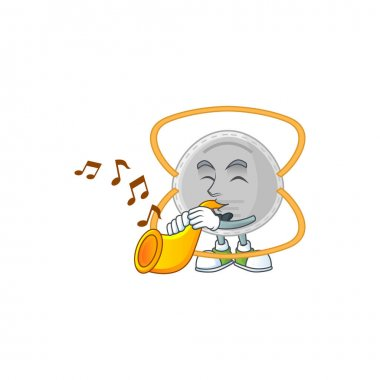 A brilliant musician of N95 mask cartoon character playing a trumpet. Vector illustration