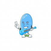Happy face of blue capsule cartoon plays music with a guitar
