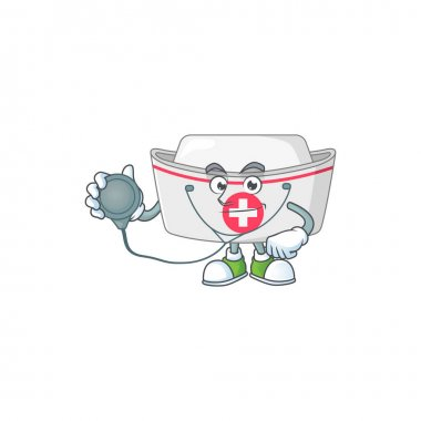A dedicated Doctor nurse hat Cartoon character with stethoscope