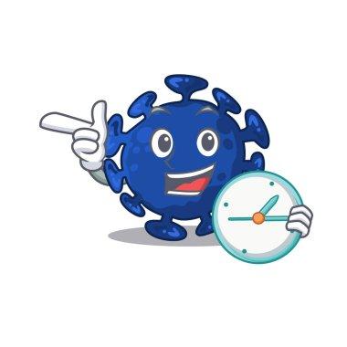 Streptococcus mascot design concept smiling with clock. Vector illustration
